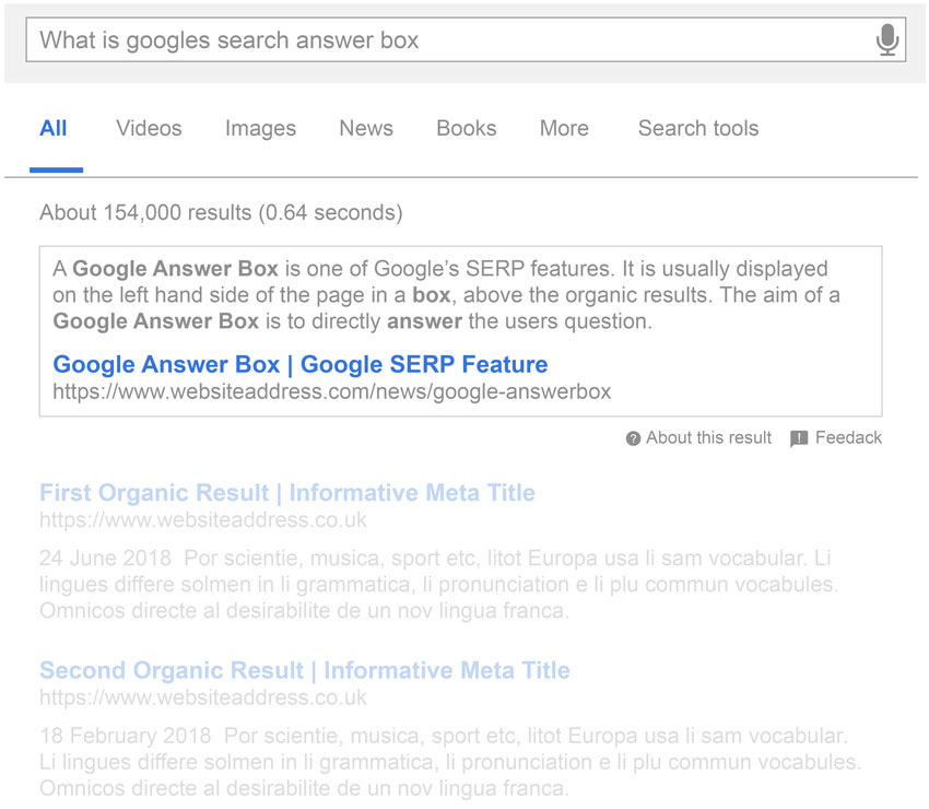 Google Search Box Results