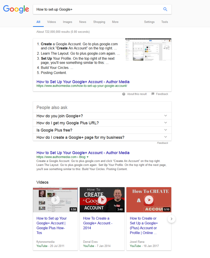 How to set-up Google+ SERP